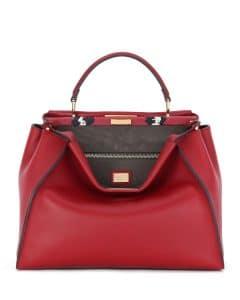Fendi Red Leather/Painted Snake Large Peekaboo Bag
