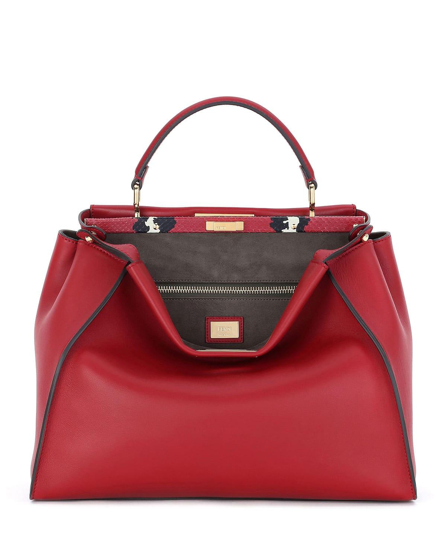 49987444d4 Fendi Red Leather Painted Snake Large Peekaboo Bag