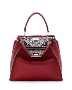 Fendi Red Leather/Snakeskin Monster Eyes Peekaboo Bag