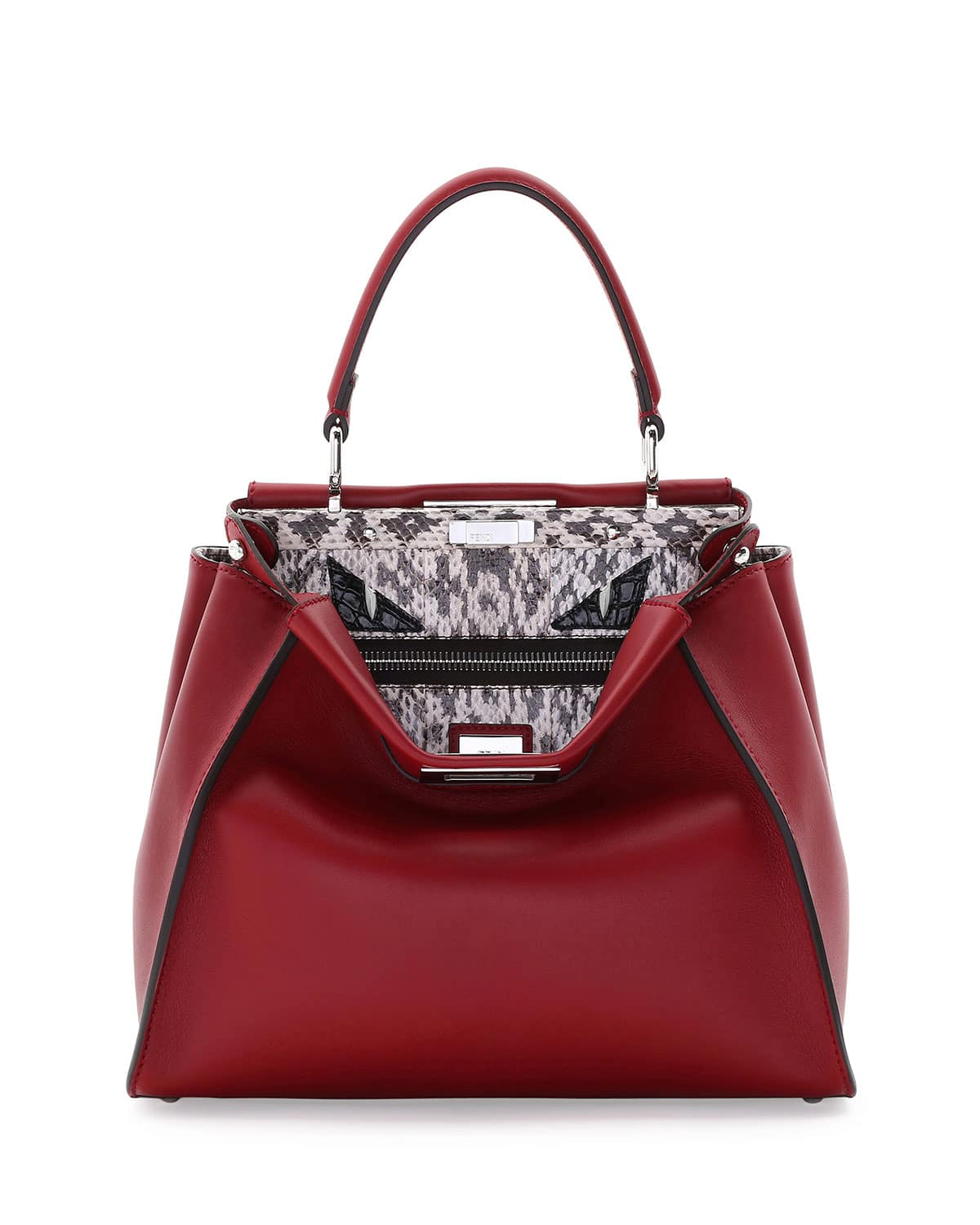 1e3113839df5 Fendi Red Leather Snakeskin Monster Eyes Peekaboo Bag