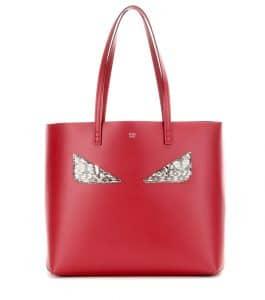 Fendi Red Monster Face Medium Roll Tote Bag