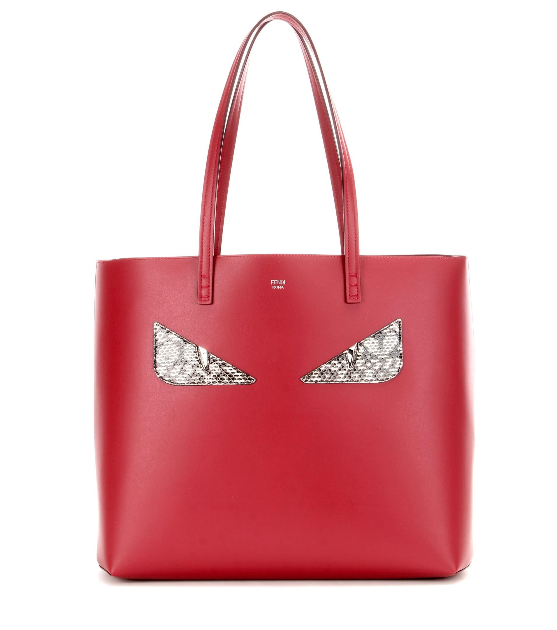 3daf82e7a584 Fendi Red Monster Face Medium Roll Tote Bag