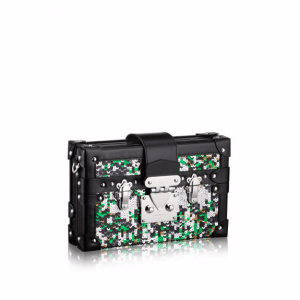 Louis Vuitton Black Multicolor Sequin Embroidered Petite Malle Bag