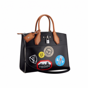 Louis Vuitton Black Veau Satin Leather World tour City Steamer MM Bag