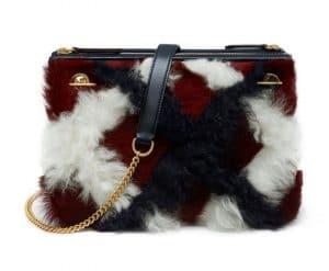 Mulberry Dark Red Curly Shearling Tartan Winsley Bag