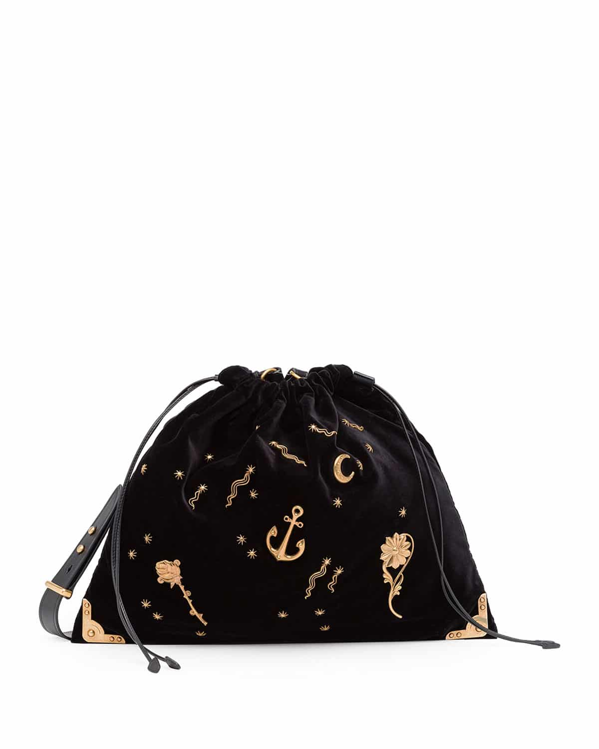 8be3b8f067 Prada Black Astrology-Embellished Large Drawstring Hobo Bag