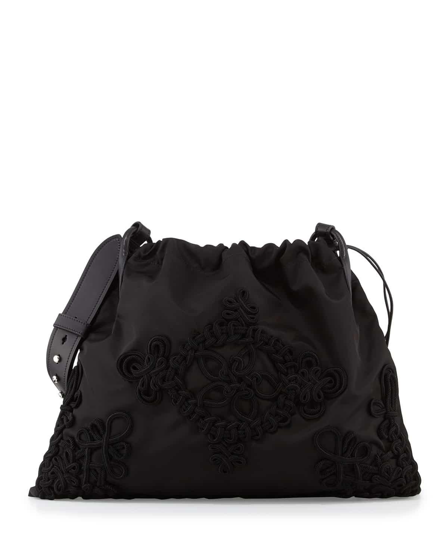 Prada Black Embroidered Large Drawstring Hobo Bag 7811d6427c846