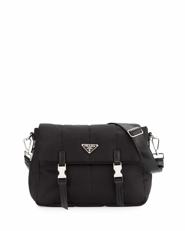 043459a4a307 Prada Black Tesutto Bomber Messenger Bag
