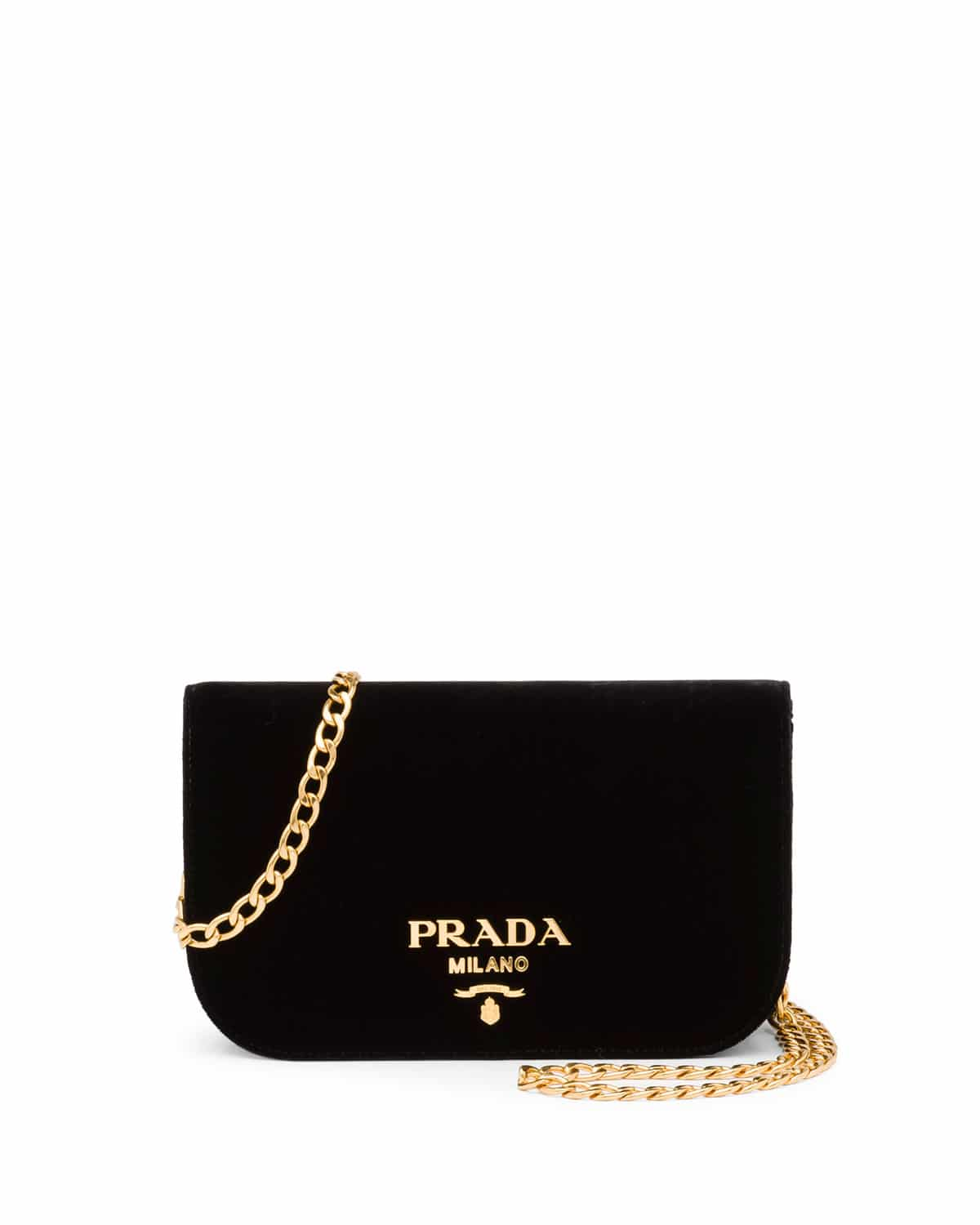 Prada Black Velvet Small Flap Crossbody Bag