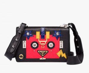Prada Black/Lacquer Red Robot Shoulder Bag