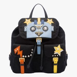Prada Black/Pale Blue Robot Backpack Bag