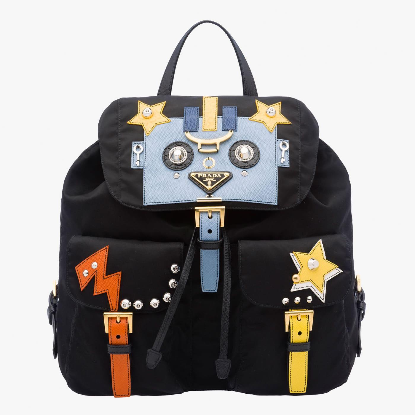 1ce6e03f089b Prada Black Pale Blue Robot Backpack Bag