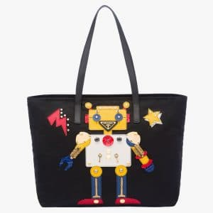 Prada Black/Yellow Robot Tote Bag 2