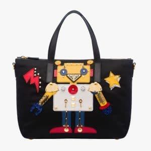 Prada Black/Yellow Robot Tote Bag