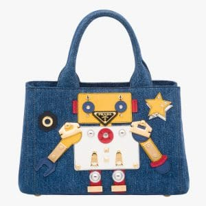 Prada Blue/Yellow Denim Robot Tote Bag