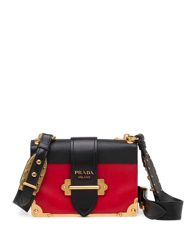Prada Red Black Notebook Cahier Shoulder Bag