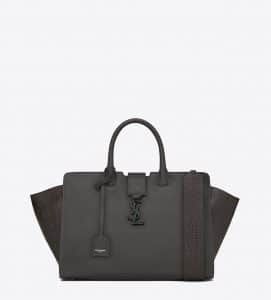 Saint Laurent Anthracite Leather/Crocodile Embossed Small Monogram Cabas Bag
