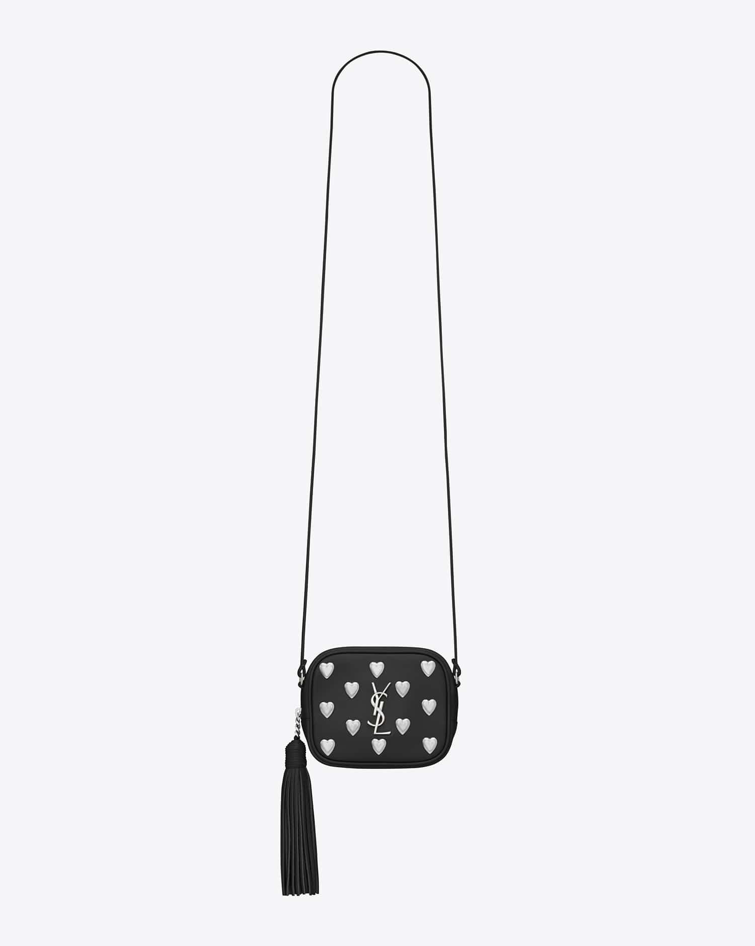 10e1d053ca27 Saint Laurent Black Heart Studded Monogram Blogger Bag