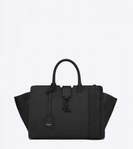 Saint Laurent Black Leather/Crocodile Embossed Small Monogram Cabas Bag