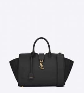 Saint Laurent Black Leather/Suede Small Monogram Cabas Bag