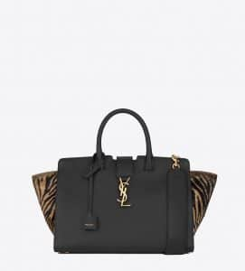 Saint Laurent Black/Tan Leather/Zebra Printed Cowhide Small Monogram Cabas Bag