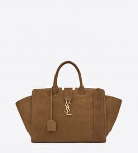 Saint Laurent Light Ocher Suede Small Monogram Cabas Bag