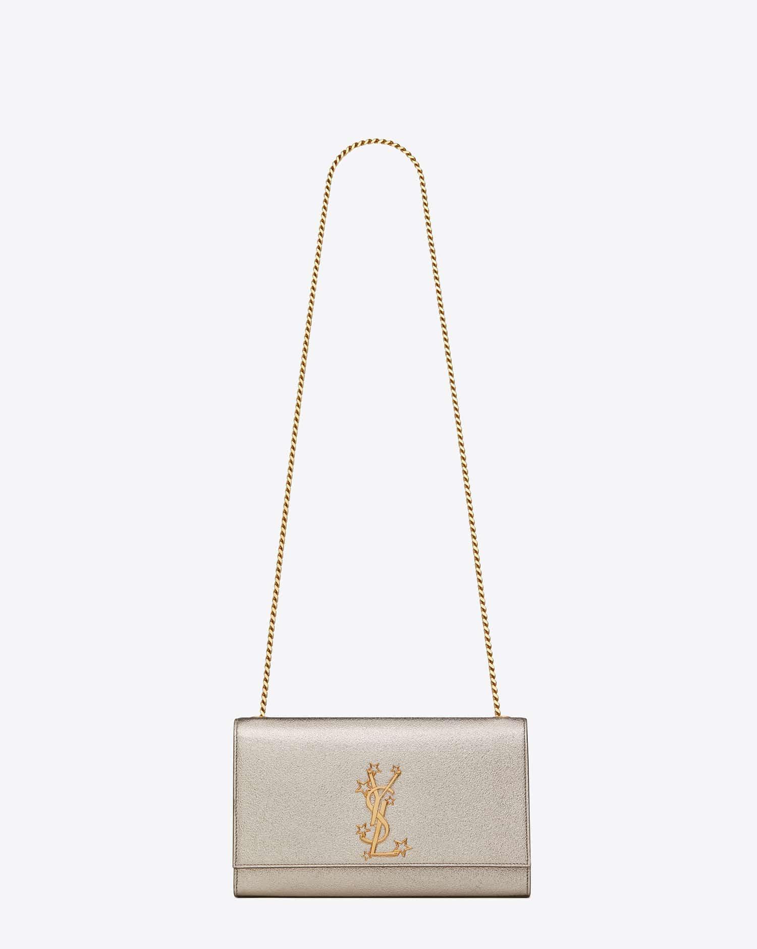 f8fdc4ffe1b9c Saint Laurent Pale Gold Star Studded Medium Monogram Kate Satchel Bag