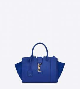 Saint Laurent Ultramarine Leather/Suede Baby Monogram Cabas Bag