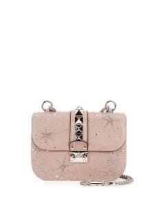 Valentino Beige Crystal Embellished Small Lock Flap Bag