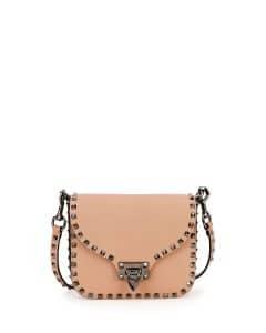 Valentino Beige Rockstud Flap-Top Shoulder Bag