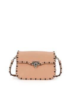 Valentino Beige Rockstud Rolling Shoulder Bag