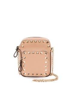 Valentino Beige Rockstud Zip Pouch with Strap Bag