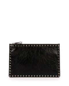 Valentino Black Crinkled Leather Large Rockstud Pouch Bag