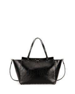Valentino Black Crinkled Leather Medium Rockstud Tote Bag
