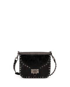 Valentino Black Crinkled Leather Small Rockstud Flap-Top Bag
