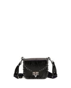 Valentino Black Crinkled Leather Mini Rockstud Rolling Flap-Top Bag