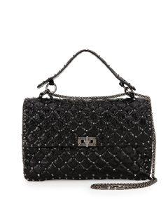 Valentino Black Matelasse Large Rockstud Shoulder Bag