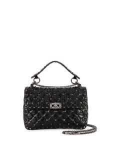 Valentino Black Matelasse Medium Rockstud Shoulder Bag