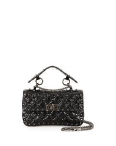 Valentino Black Matelasse Small Rockstud Shoulder Bag