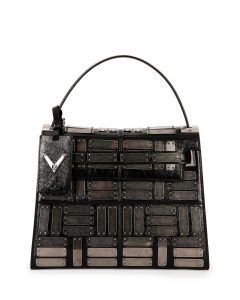 Valentino Black Metal Panel Embellished My Rockstud Top Handle Bag