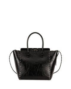 Valentino Black Rockstud Noir Double Handle Tote Bag
