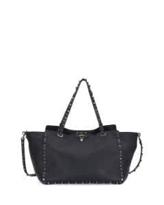 Valentino Black Rockstud Rolling Tote Bag