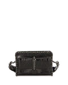 Valentino Black Small Rockstud Rolling Shoulder Bag