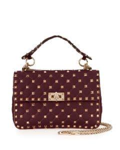 Valentino Bordeaux Matelasse Medium Rockstud Shoulder Bag