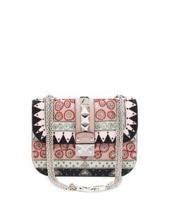 Valentino Multicolor Beaded Geometric Patch Small Lock Flap Bag