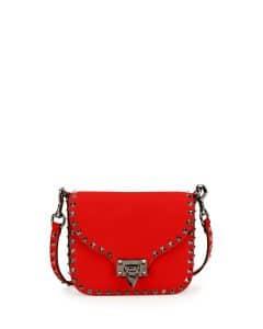 Valentino Red Rockstud Flap-Top Shoulder Bag