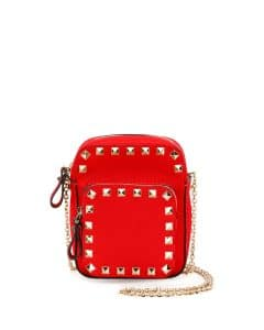 Valentino Red Rockstud Zip Pouch with Strap Bag