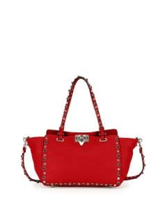 Valentino Red Small Rockstud Rolling Tote Bag