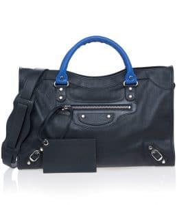 Balenciaga Black/Blue Vibrato Classic City Bag