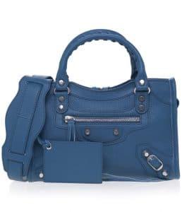 Balenciaga Bleu Canard Vibrato Classic Mini City Bag